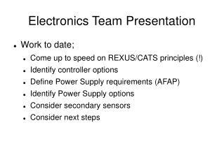 Electronics Team Presentation