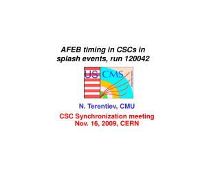 AFEB timing in CSCs in               splash events, run 120042