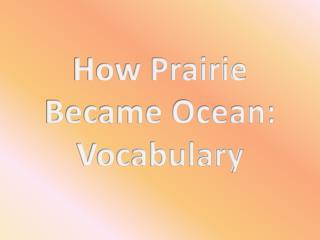 How Prairie Became Ocean: Vocabulary