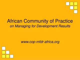 African Community of Practice  on Managing for Development Results