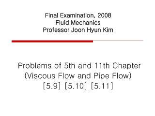 Final Examination, 2008 Fluid Mechanics  Professor Joon Hyun Kim