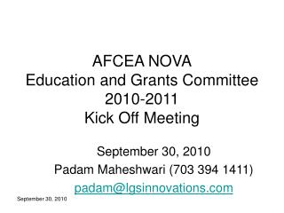 AFCEA NOVA Education and Grants Committee 2010-2011 Kick Off Meeting