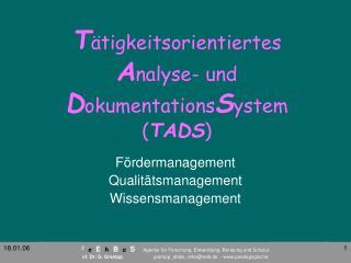 T ätigkeitsorientiertes  A nalyse- und  D okumentations S ystem ( TADS )