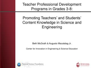 Teacher Professional Development Programs in Grades 3-8: