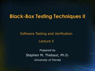 Black-Box Testing Techniques II