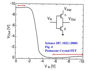 Science 287, 1022 (2000) Fig. 4 Pentacene Crystal FET