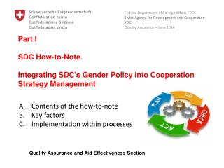 Part I SDC How-to-Note Integrating SDC's Gender Policy into Cooperation Strategy Management