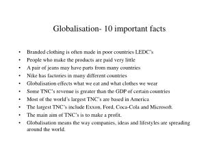 Globalisation- 10 important facts