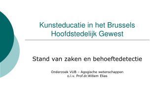 Kunsteducatie in het Brussels Hoofdstedelijk Gewest