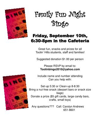 Family Fun Night - Bingo