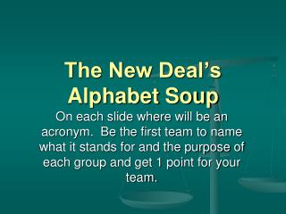 The New Deal's Alphabet Soup