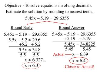 Objective - To solve equations involving decimals.