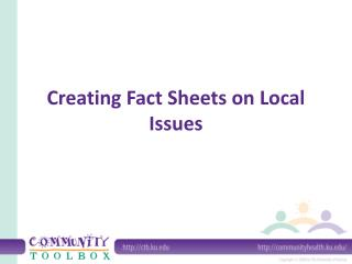 Creating Fact Sheets on Local Issues