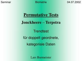 Seminar                                Biometrie                           04.07.2002