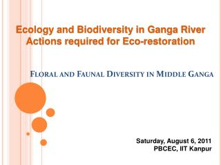 Floral and Faunal Diversity in Middle Ganga
