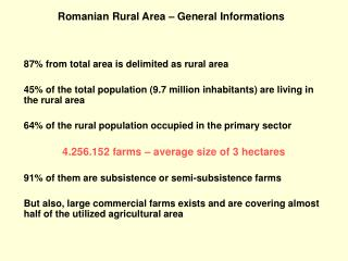 Romanian Rural Area � General Informations