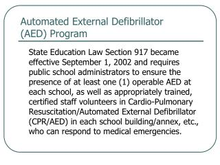 Automated External Defibrillator  (AED) Program