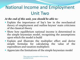 National Income and Employment Unit Two
