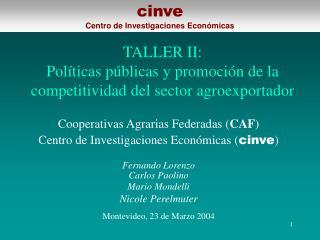 TALLER II: Políticas públicas y promoción de la competitividad del sector agroexportador