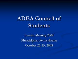 ADEA Council of Students