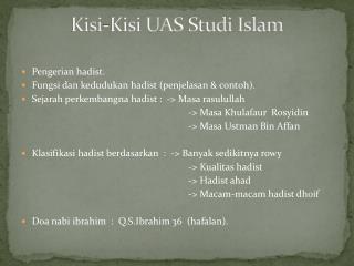 Kisi-Kisi UAS  Studi  Islam
