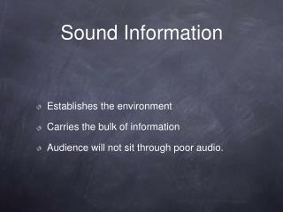 Sound Information