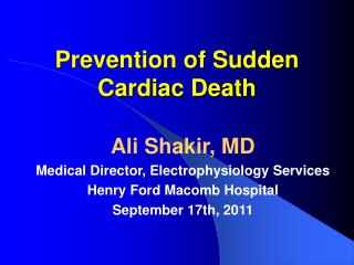 Prevention of Sudden Cardiac Death