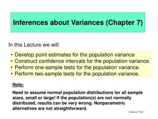 Inferences about Variances ( Chapter  7)