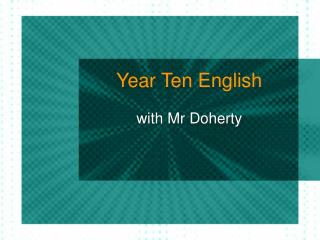 Year Ten English