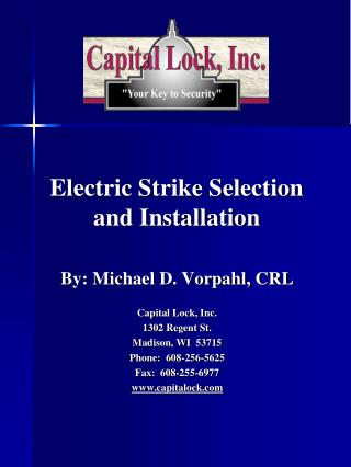 Electric Strike Selection and Installation