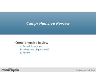 Comprehensive Review