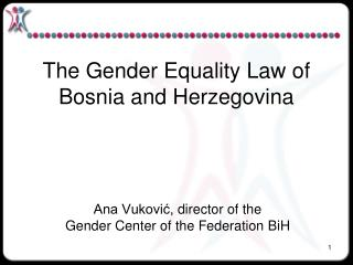 The Gender Equality Law of  Bosnia and Herzegovina