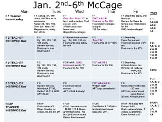 Jan. 2 nd -6 th  McCage