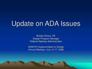 Update on ADA Issues
