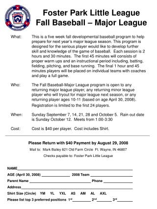 Foster Park Little League Fall Baseball – Major League