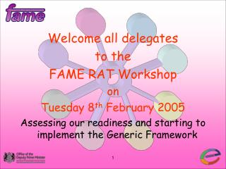 Welcome all delegates  to the  FAME RAT Workshop on Tuesday 8 th  February 2005