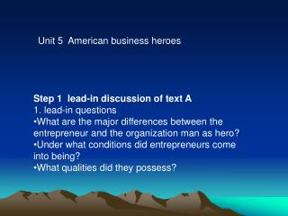 Unit 5  American business heroes