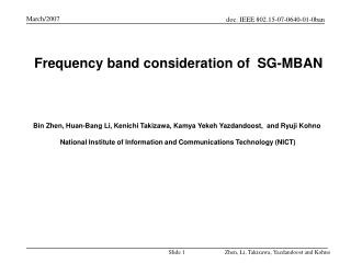Frequency band consideration of  SG-MBAN