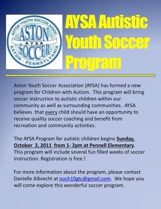 AYSA Autistic Youth Soccer Program