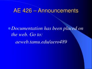 AE 426 – Announcements