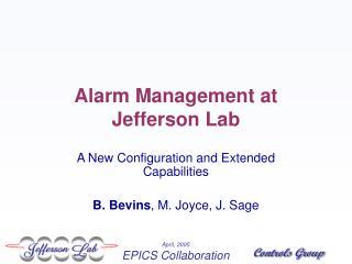 Alarm Management at Jefferson Lab