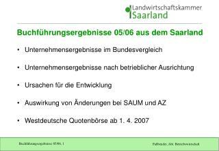 Buchführungsergebnisse 05/06 aus dem Saarland