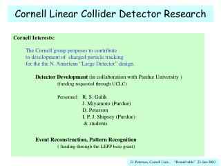 Cornell Linear Collider Detector Research