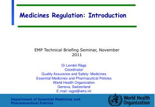 Medicines Regulation: Introduction