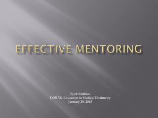 Effective mentoring