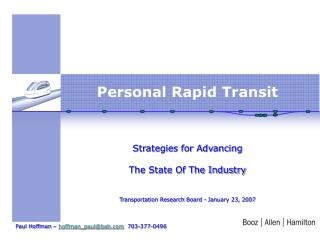 Personal Rapid Transit      Strategies for Advancing   The State Of The Industry   Transportation Research Board - Janua