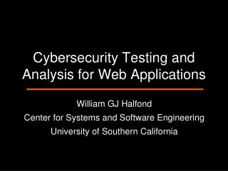 Cybersecurity Testing and Analysis for Web Applications