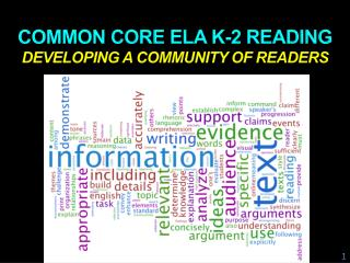 Common core  ela  K-2 reading  developing a community of readers