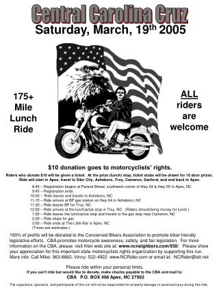 $10 donation goes to motorcyclists' rights.