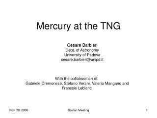 Mercury at the TNG